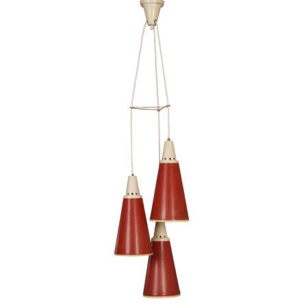 Rode Perfolux Hanglamp van N. Hiemstra voor Hiemstra Evolux, 1950s | Vintage Design