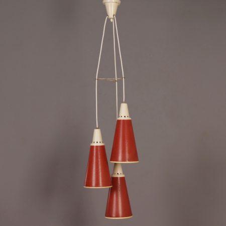 Rode Perfolux Hanglamp van N. Hiemstra voor Hiemstra Evolux, 1950s