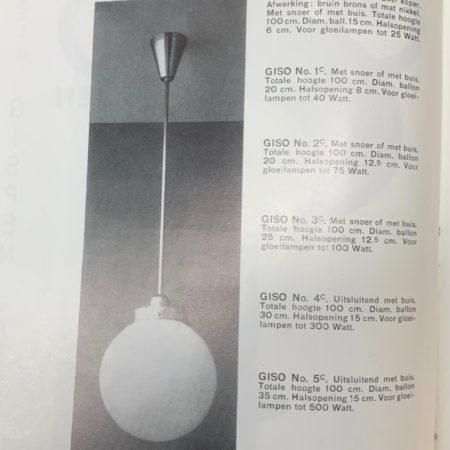 Giso Hanglamp van W.H. Gispen voor Gispen, 1930s