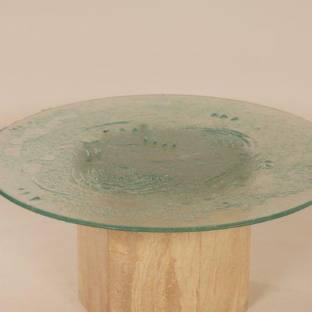 Italiaanse Salontafel van Travertin en Glas, 1970s