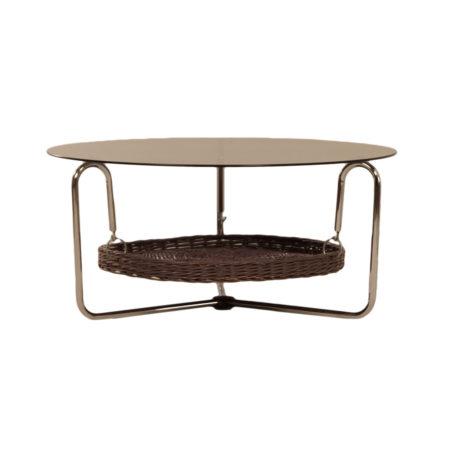 Ronde Glazen Salontafel met Lectuurmand, 1960s | Vintage Design