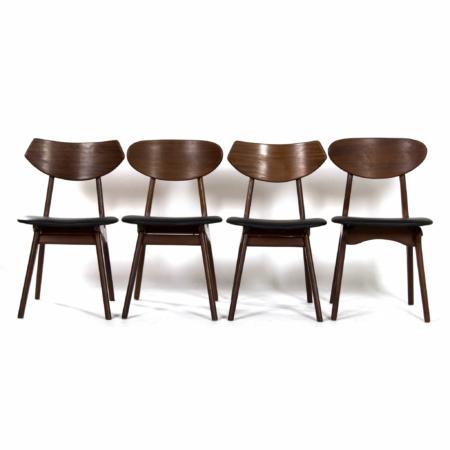 Teakhouten Eetkamerstoelen van Louis van Teeffelen voor Awa, 1960s – Nieuw Zwart Leder | Vintage Design