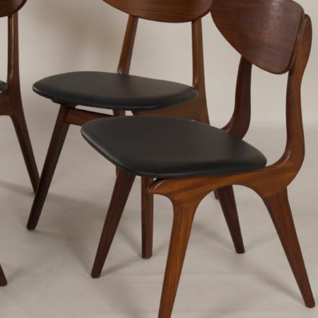 Teakhouten Eetkamerstoelen van Louis van Teeffelen voor Awa, 1960s – Nieuw Zwart Leder