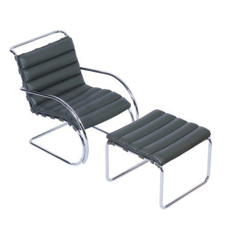 MR Lounge Stoel met Hocker van Mies v.d. Rohe voor Knoll, 2000s | Vintage Design