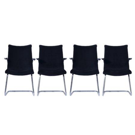 Buisstoelen 3014 van Toon De Wit voor De Wit, 1950s – Set van Vier in Nieuwe Zwarte Rib | Vintage Design
