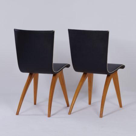 Eetkamerstoelen in Gebogen Esdoornhout van Van Os, 1950s – Set van Twee