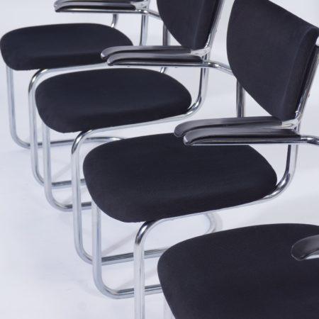 Buisstoelen 3011 van De Wit, 1950s – Set van 4 in Nieuwe Zwarte Ribstof