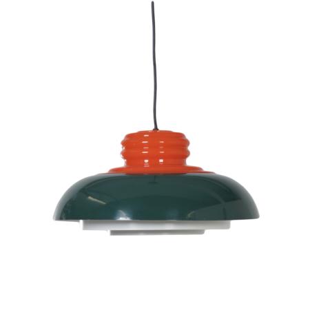 Seventies Hanglamp van Dijkstra Lampen in de Kleuren Oranje en Groen   Vintage Design