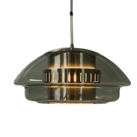 Glazen Hanglamp van Dijkstra Lampen , 1970s – Aluminium Binnenwerk | Vintage Design