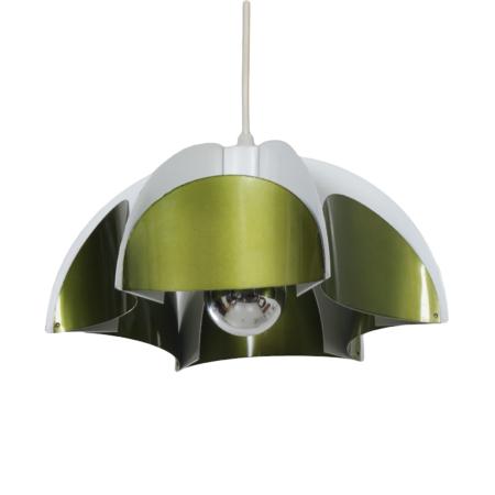 Metalen Hanglamp van Volkslux, 1960s – Metallic Groen | Vintage Design