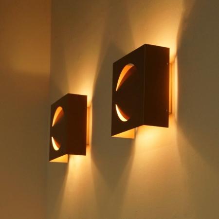 Set Raak Signaal Wandlampen Koperkleurig, 1970s