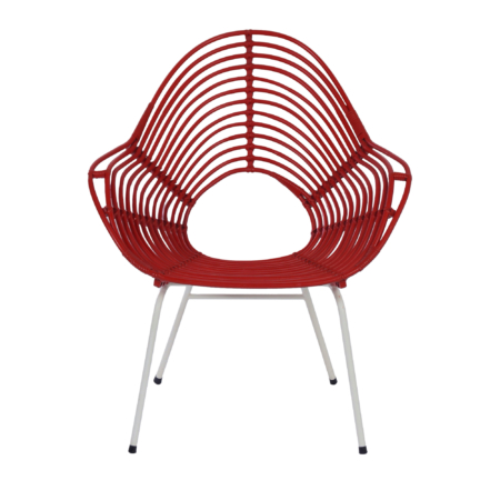 Rode Rotan Stoel van Rohe Noordwolde, 1960s | Vintage Design