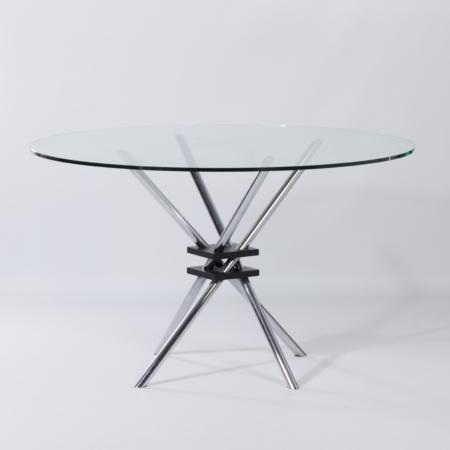 Glazen Eettafel met Chromen Poten, Italië 1970s
