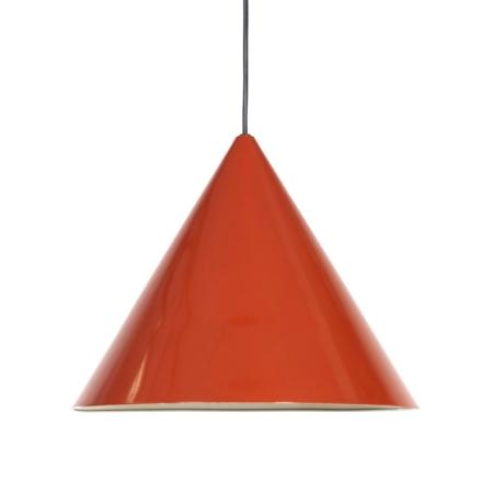 Biljart Hanglamp van Arne Jacobsen voor Louis Poulsen | Oranje Rood Emaille | Vintage Design