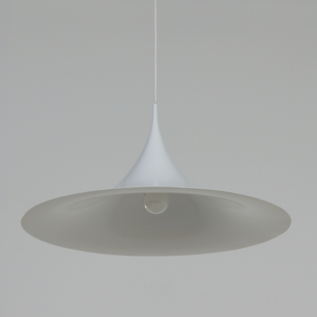 Witte Semi Hanglamp van Bonderup en Thorup voor Fog Morup, 1960s | 60 cm