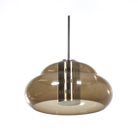 Vintage Hanglamp met Geperforeerd Binnenwerk van Dijkstra Lampen, 1970s | Vintage Design