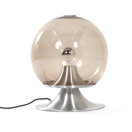 Tafellamp Droomeiland Tafellamp van Raak Amsterdam, 1960 – Grote Versie in Rookglas | Vintage Design
