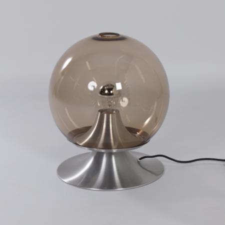 Tafellamp Droomeiland Tafellamp van Raak Amsterdam, 1960 – Grote Versie in Rookglas