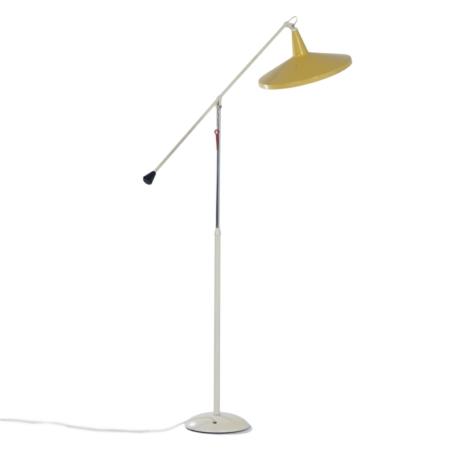 Gele Panama Vloerlamp model 6350 van Wim Rietveld voor Gispen, 1957 | Vintage Design
