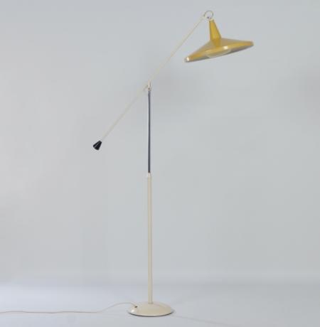 Gele Panama Vloerlamp model 6350 van Wim Rietveld voor Gispen, 1957