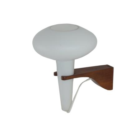Wandlamp Mushroom in Teakhout en Wit Glas van Artimeta, 1960s | Vintage Design