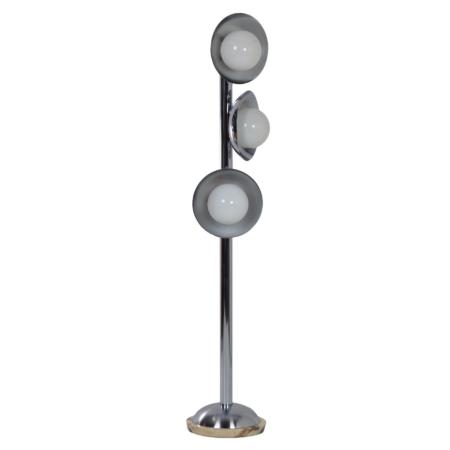 Italiaanse Mid Century Vloerlamp met 3 Lichtpunten, 1970s – Chroom en Marmer | Vintage Design