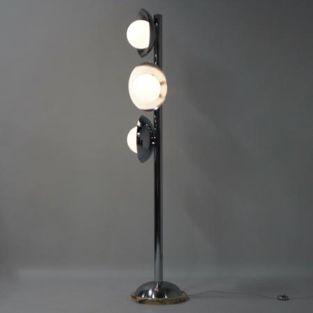 Italiaanse Mid Century Vloerlamp met 3 Lichtpunten, 1970s – Chroom en Marmer