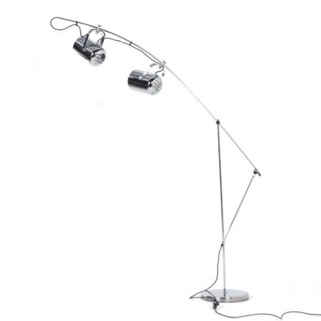 Chromen Sorrento Vloerlamp van Copini & Postuma voor Gepo lampen, 1970s | Vintage Design