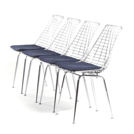 Flamingo Draadstoelen van Braakman en Dekker voor Pastoe, 1960s – Set van 4 | Vintage Design