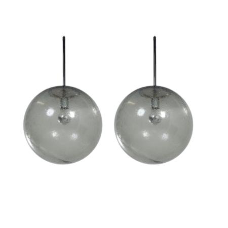 Paar Hanglampen in Bubbelglas van Peill & Putlzer, 1970s | Vintage Design