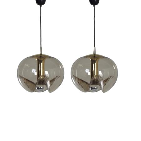 Paar Futura Hanglampen van Kristalglas van Peill & Putlzer, 1970s | Vintage Design