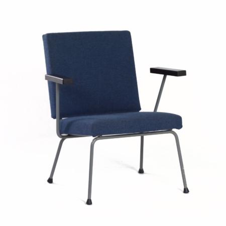 Blauwe 1401 Fauteuil van Wim Rietveld voor Gispen, 1950s | Vintage Design