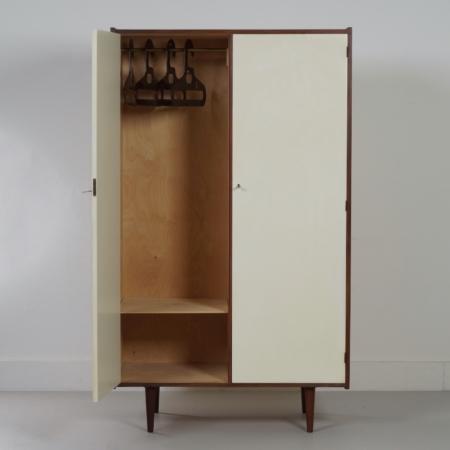Vintage Kledingkast van Teakhout met Witte Deuren, Nederland 1960's