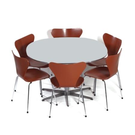 Deense Eetset van Piet Hein, Bruno Mathsson en Arne Jacobsen voor Fritz Hansen, 1970s | Eettafel met Zes Vlinderstoelen | Vintage Design
