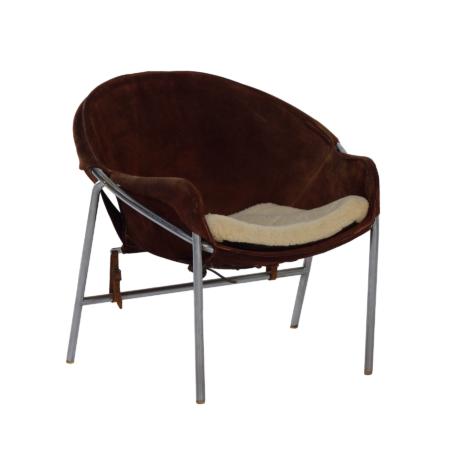 Deense Sling Stoel van Erik Jørgensen voor Bovirke, 1953's | Bruin Suède | Vintage Design