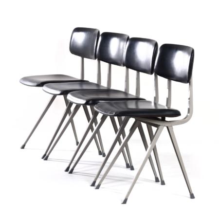 Zwarte Result Stoelen van Friso Kramer & Wim Rietveld voor Ahrend de Cirkel, 1960s | 4 stuks | Vintage Design