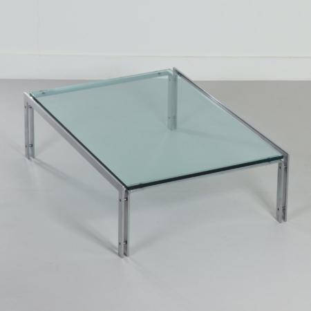 Rechthoekige Mid-Century Glazen Salontafel van Metaform, 1980s