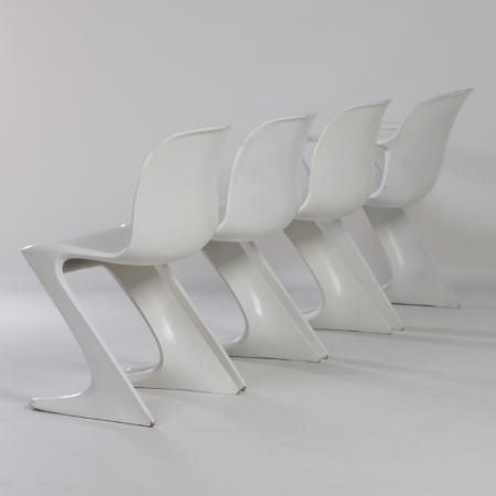 Set van 4 Witte Kangoeroe Stoelen van Ernst Moeckl voor Horn, 1968