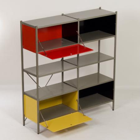 Model 663 Kast van Wim Rietveld voor Gispen, 1950s (2) – Rood, Geel en Zwart
