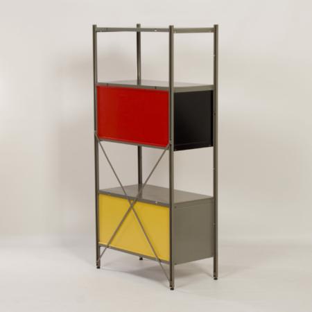 Model 663 Kast van Wim Rietveld voor Gispen, 1950s (3) – Rood, Zwart en Geel
