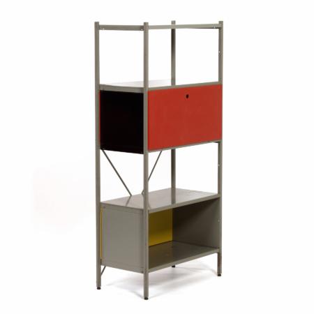 Model 663 Kast van Wim Rietveld voor Gispen, 1950s (3) – Rood, Zwart en Geel | Vintage Design
