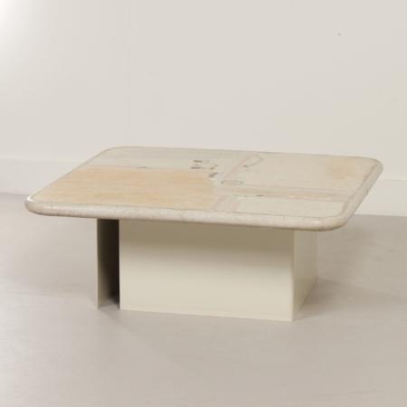 Witte Natuurstenen Salontafel van Paul Kingma, 1980s – Vierkant 100 cm