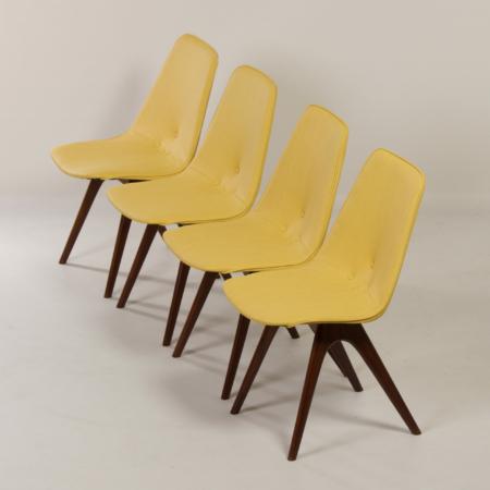Teakhouten Eetkamerstoelen van Van Os, 1950s – Set van 4
