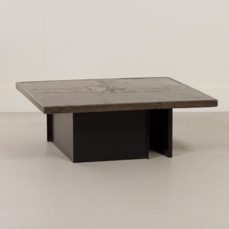 Bruine Salontafel met Mozaïek van Paul Kingma, 1970s – Vierkant 88 cm