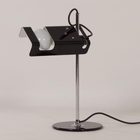 Zwarte Spider Bureaulamp van Joe Colombo voor Oluce, 1990s
