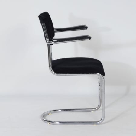 Sledestoel 1017 van Toon de Wit voor Gebr. De Wit, 1950s – Opnieuw Gestoffeerd
