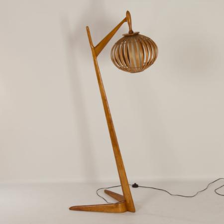 Organische Vloerlamp van Gebogen Berkenhout, 1960s.