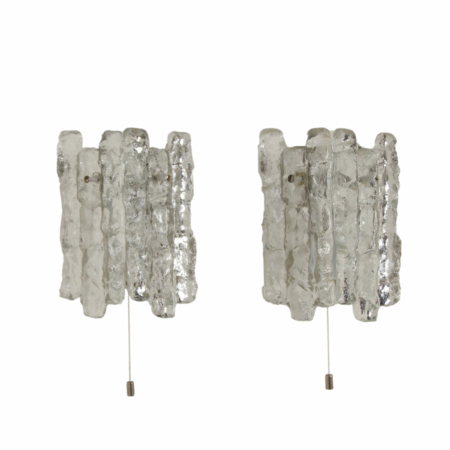 Paar Wandlampen in Mat IJsglas van J. T. Kalmar voor Kalmar Franken KG, 1960s | Vintage Design