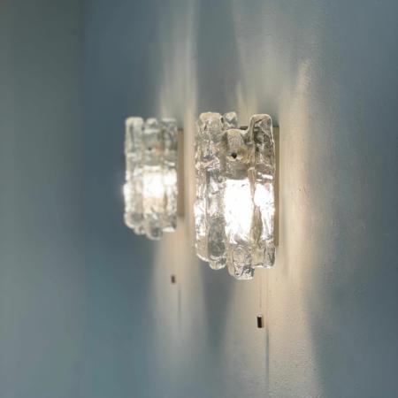 Paar Wandlampen in Mat IJsglas van J. T. Kalmar voor Kalmar Franken KG, 1960s