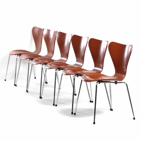 Vlinderstoelen van Arne Jacobsen voor Fritz Hansen, 1970s | Set van 6 | Vintage Design